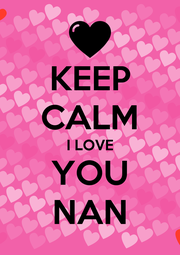 KEEP CALM I LOVE YOU NAN - Personalised Poster A1 size
