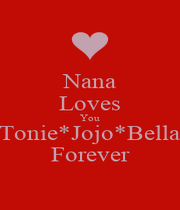 Nana Loves You Tonie*Jojo*Bella Forever - Personalised Poster A1 size