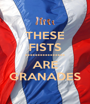 THESE FISTS **************** ARE GRANADES - Personalised Poster A4 size
