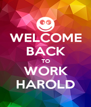 WELCOME BACK TO WORK HAROLD - Personalised Poster A1 size