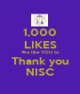 1,000 LIKES We like YOU to Thank you NISC - Personalised Poster A1 size