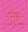 always remember time stood  still 3rd May 2014 - Personalised Poster A1 size