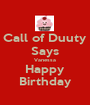 Call of Duuty Says Vanessa Happy Birthday - Personalised Poster A1 size