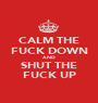 CALM THE FUCK DOWN AND SHUT THE FUCK UP - Personalised Poster A1 size