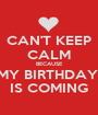 CAN'T KEEP CALM BECAUSE MY BIRTHDAY  IS COMING - Personalised Poster A1 size