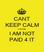 CANT KEEP CALM CAUSE I AM NOT PAID 4 IT - Personalised Poster A1 size