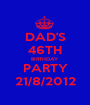 DAD'S 46TH BIRTHDAY PARTY 21/8/2012 - Personalised Poster A1 size