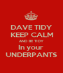 DAVE TIDY KEEP CALM AND BE TIDY In your  UNDERPANTS - Personalised Poster A1 size
