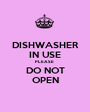 DISHWASHER IN USE PLEASE  DO NOT OPEN - Personalised Poster A1 size