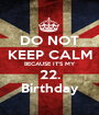 DO NOT KEEP CALM BECAUSE IT'S MY 22. Birthday - Personalised Poster A1 size