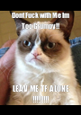 Dont Fuck with Me Im Too Grumpy!! LEAV ME TF ALONE !!!!!!!!! - Personalised Poster A1 size
