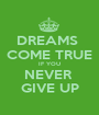 DREAMS  COME TRUE IF YOU NEVER  GIVE UP - Personalised Poster A1 size