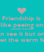 Friendship is  like peeing on yourself everyone can see it but only you get the warm feeling - Personalised Poster A1 size