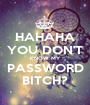 HAHAHA YOU DON'T KNOW MY PASSWORD BITCH? - Personalised Poster A1 size