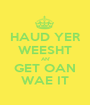 HAUD YER WEESHT AN' GET OAN WAE IT - Personalised Poster A1 size