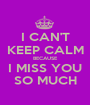 I CAN'T KEEP CALM BECAUSE I MISS YOU SO MUCH - Personalised Poster A1 size