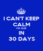 I CAN'T KEEP CALM I'M DUE IN 30 DAYS - Personalised Poster A1 size