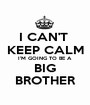 I CAN'T  KEEP CALM I'M GOING TO BE A BIG BROTHER - Personalised Poster A1 size