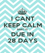 I CANT KEEP CALM BABY IS DUE IN 28 DAYS - Personalised Poster A1 size