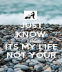 JUST KNOW THAT ITS MY LIFE NOT YOUR - Personalised Poster A1 size