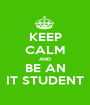 KEEP CALM AND BE AN IT STUDENT - Personalised Poster A1 size
