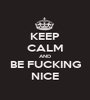 KEEP CALM AND BE FUCKING NICE - Personalised Poster A1 size