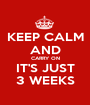 KEEP CALM AND CARRY ON IT'S JUST 3 WEEKS - Personalised Poster A1 size