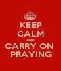KEEP CALM AND CARRY ON  PRAYING - Personalised Poster A1 size