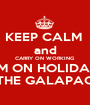 KEEP CALM  and CARRY ON WORKING I'M ON HOLIDAY IN THE GALAPAGOS - Personalised Poster A1 size