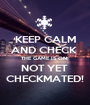 KEEP CALM AND CHECK  THE GAME IS ON; NOT YET  CHECKMATED! - Personalised Poster A1 size