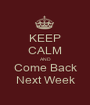 KEEP CALM AND Come Back Next Week - Personalised Poster A1 size