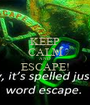 KEEP CALM AND ESCAPE!  - Personalised Poster A1 size