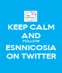 KEEP CALM AND FOLLOW ESNNICOSIA ON TWITTER - Personalised Poster A1 size