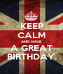 KEEP CALM AND HAVE A GREAT BIRTHDAY. - Personalised Poster A1 size