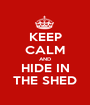 KEEP CALM AND HIDE IN THE SHED - Personalised Poster A1 size