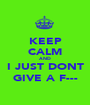 KEEP CALM AND I JUST DONT GIVE A F--- - Personalised Poster A1 size