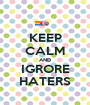 KEEP CALM AND IGRORE HATERS - Personalised Poster A1 size