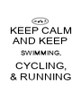 KEEP CALM AND KEEP SWIMMING, CYCLING, & RUNNING - Personalised Poster A1 size