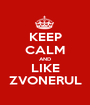KEEP CALM AND LIKE ZVONERUL - Personalised Poster A1 size