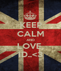 KEEP CALM AND LOVE  1D..<3 - Personalised Poster A1 size