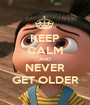 KEEP CALM AND NEVER GET OLDER - Personalised Poster A1 size