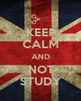KEEP CALM AND NOT STUDY - Personalised Poster A1 size