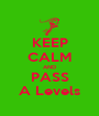 KEEP CALM AND PASS A Levels - Personalised Poster A1 size