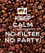 KEEP CALM and remember: NO FILTER NO PARTY! - Personalised Poster A1 size