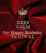 KEEP CALM AND Say Happy Birthday  To UJWAL - Personalised Poster A1 size
