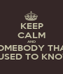KEEP CALM AND SOMEBODY THAT I USED TO KNOW - Personalised Poster A1 size