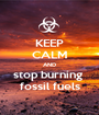 KEEP CALM AND stop burning  fossil fuels - Personalised Poster A1 size