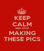KEEP CALM AND STOP MAKING THESE PICS - Personalised Poster A1 size