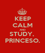 KEEP CALM AND STUDY,  PRINCESO. - Personalised Poster A1 size