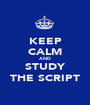 KEEP CALM AND STUDY THE SCRIPT - Personalised Poster A1 size
